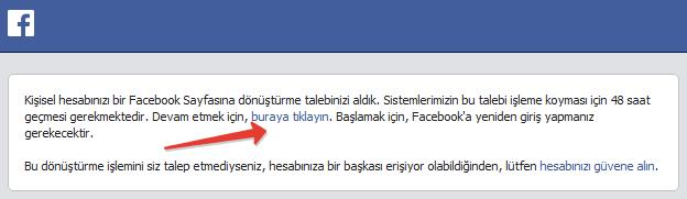 Facebook Sayfa Donusum Eposta