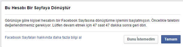 Facebook giris uyarisi